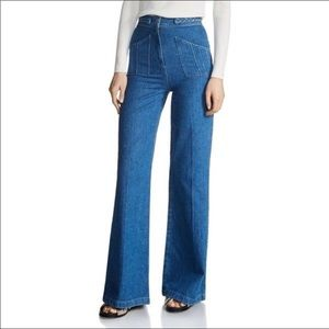 NWT Maje Phil Braided High Waist Wide Leg Jeans